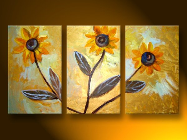 Modern Contemporary oil paintings on Canvas flower painting set 106