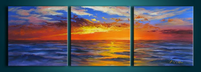 Modern Contemporary oil paintings on Canvas sunset glow painting set 275