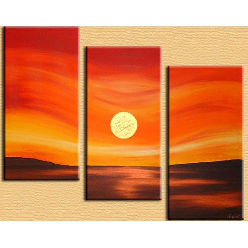 Modern Contemporary oil paintings on Canvas sun rise painting set 301