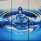 Modern Contemporary oil paintings on Canvas blue water drop painting set 330