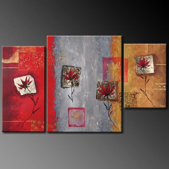 Modern Art Deco oil paintings on Canvas flower painting set 386