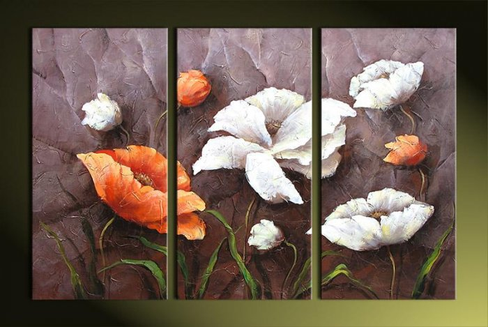 Modern Art Deco oil paintings on Canvas flower painting set 394