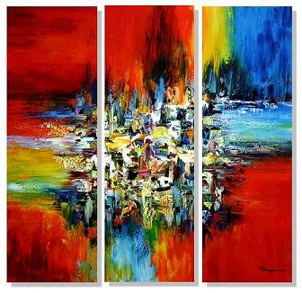 Modern Art Deco oil paintings on Canvas abstract painting set 410