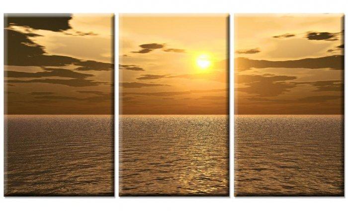 Modern Art Deco oil paintings on Canvas sunset painting set 413