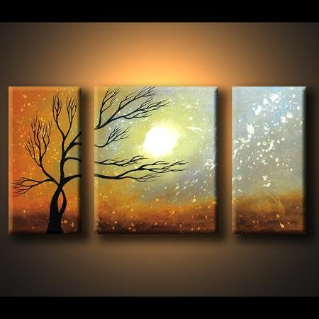 Modern Art Deco oil paintings on Canvas tree painting set 431