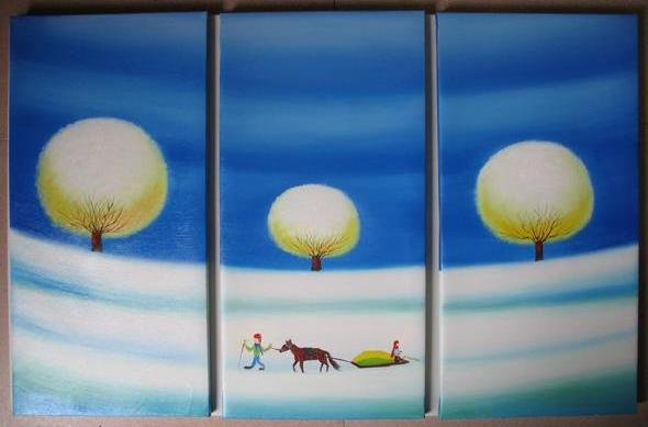 Modern Art Deco oil paintings on Canvas tree painting set 436