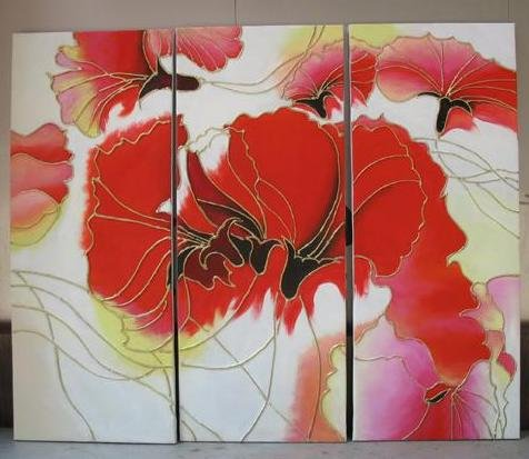 Modern Art Deco oil paintings on Canvas flower painting set 437