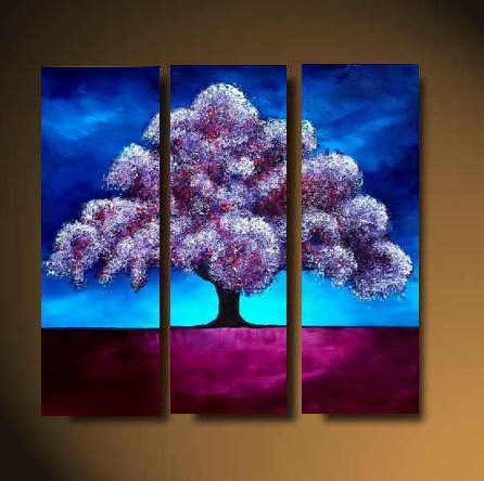 Modern Art Deco oil paintings on Canvas tree painting set 486