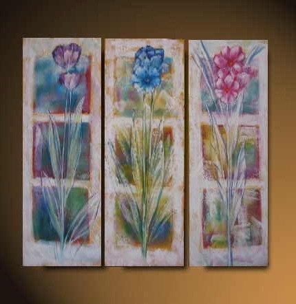 Modern Art Deco oil paintings on Canvas flower painting set 536