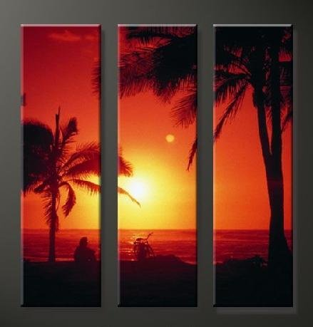 Modern Art Deco oil paintings on Canvas sunset glow painting set 643