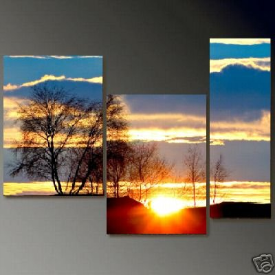 Modern Art Deco oil paintings on Canvas sunset glow painting set 648