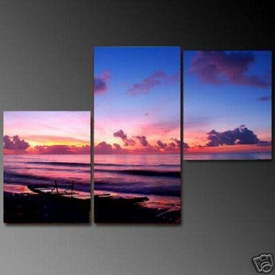 Modern Art Deco oil paintings on Canvas sunset glow painting set 673
