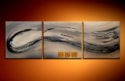 100% handmade Art deco Modern abstract oil paintings on Canvas set 09002