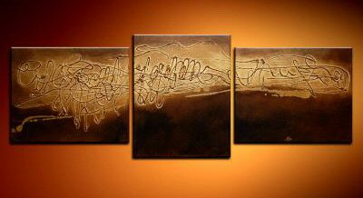 100% handmade Art deco Modern abstract oil paintings on Canvas set 09005