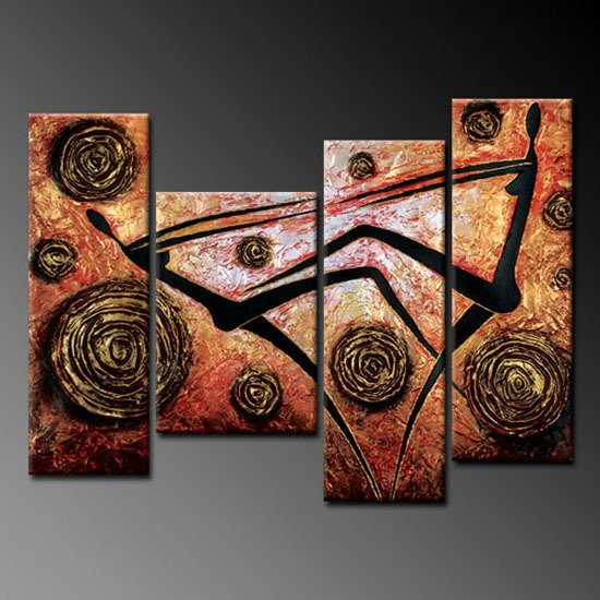 100% handmade Art deco Modern abstract oil paintings on Canvas set 09006