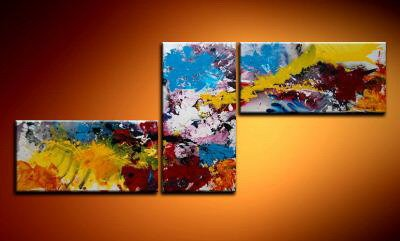 100% handmade Art deco Modern abstract oil paintings on Canvas set 09010