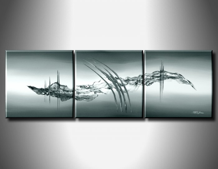 100% handmade Art deco Modern abstract oil paintings on Canvas set 09012