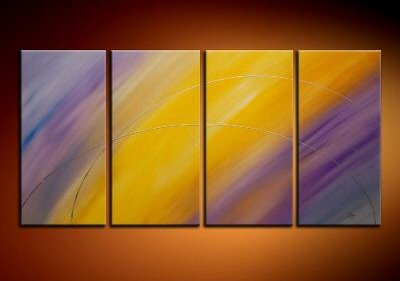 100% handmade Art deco Modern abstract oil paintings on Canvas set 09016