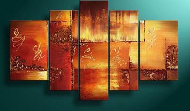 100% handmade Art deco Modern abstract oil paintings on Canvas set 09022