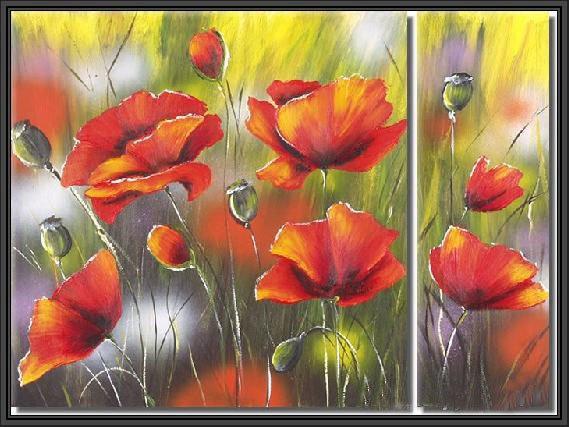 100% handmade Art deco Modern flower oil paintings on Canvas set 09025