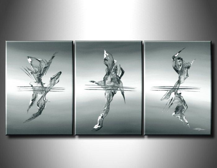 100% handmade Art deco Modern abstract oil paintings on Canvas set 09028