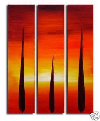 Handmade Art deco Modern sunset glow oil painting on Canvas set 09031