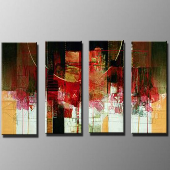 Handmade Art deco Modern abstract oil painting on Canvas set 09034