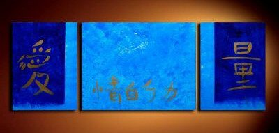Handmade Art deco Modern abstract oil painting on Canvas set 09042