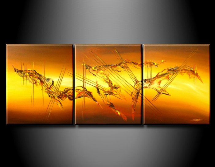 Handmade Art deco Modern abstract oil painting on Canvas set 09058