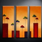 Handmade Art deco Modern tree oil painting on Canvas set 09061