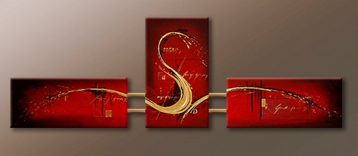 Handmade Art deco Modern abstract oil painting on Canvas set 09065