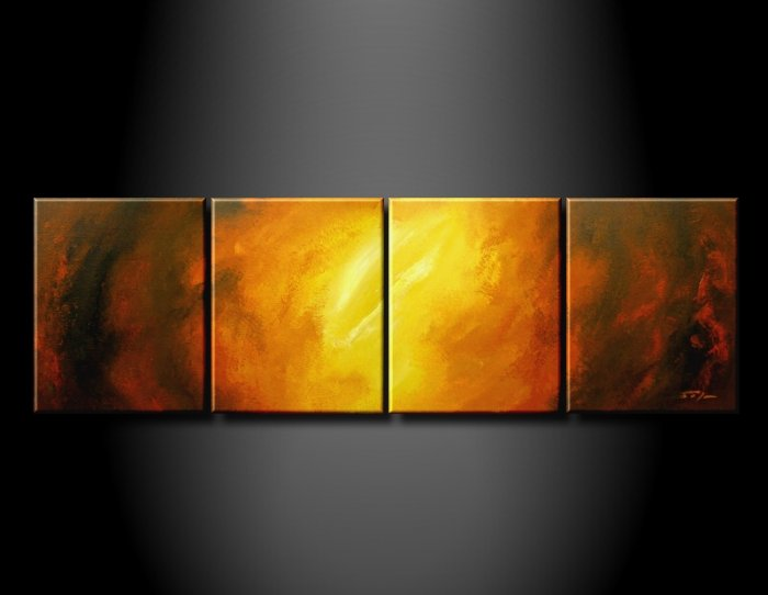 Handmade Art deco Modern abstract oil painting on Canvas set 09207