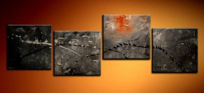 Handmade Art deco Modern abstract oil painting on Canvas set 09229