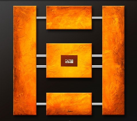Handmade Art deco Modern abstract oil painting on Canvas set 09121