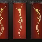 Handmade Art deco Modern abstract oil painting on Canvas set 09177