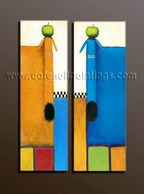100% handmade Art deco Modern abstract oil paintings on Canvas set10004