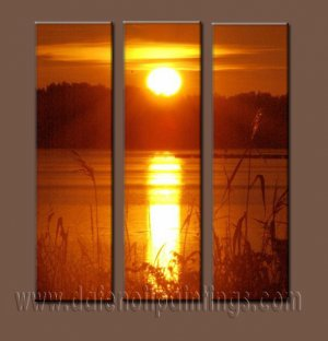 100% handmade Art deco Modern setting sun oil paintings on Canvas set10019