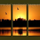 100% handmade Art deco Modern setting sun oil paintings on Canvas set10020
