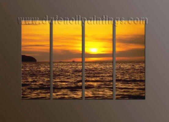 Handmade Art deco Modern setting sun oil painting on Canvas set 10041