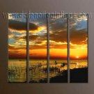 Handmade Art deco Modern setting sun oil painting on Canvas set 10043