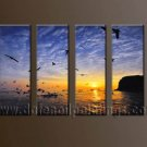 Handmade Art deco Modern setting sun oil painting on Canvas set 10044