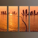 Handmade Art deco Modern setting sun oil painting on Canvas set 10048
