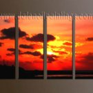 Handmade Art deco Modern setting sun oil painting on Canvas set 10052