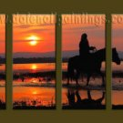 Modern Contemporary oil paintings on Canvas sunrise painting set10059