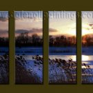 Modern Contemporary oil paintings on Canvas sunrise painting set10067