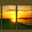 Modern Contemporary oil paintings on Canvas sunrise painting set10081