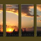Modern Contemporary oil paintings on Canvas sunrise painting set10092