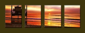 Modern Contemporary oil paintings on Canvas sunrise painting set10099