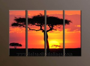 Modern Contemporary oil paintings on Canvas sunrise painting set10115
