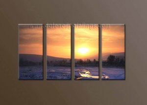 Modern Contemporary oil paintings on Canvas sunrise painting set10118